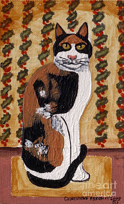 Painting - Cool Calico Cat by Genevieve Esson