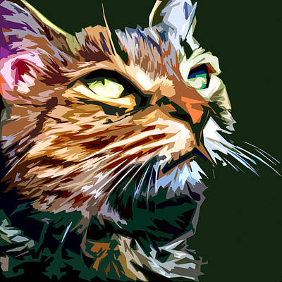 Colorful Art Digital Art - Cool Cat by David G Paul