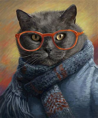 Domestic Digital Art - Cool Cat by Lucie Bilodeau