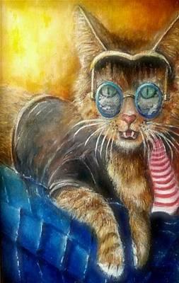Painting - Cool Cat Rocks by Bernadette Krupa