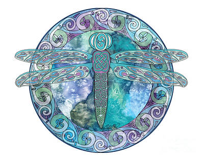 Print featuring the mixed media Cool Celtic Dragonfly by Kristen Fox