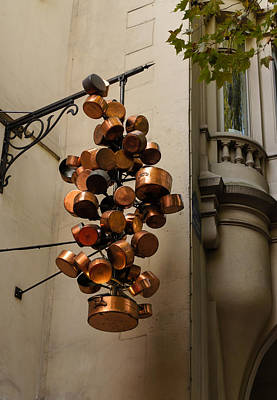 Photograph - Cool Copper Pots - Parisian Restaurant Left Bank La Rive Gauche by Georgia Mizuleva