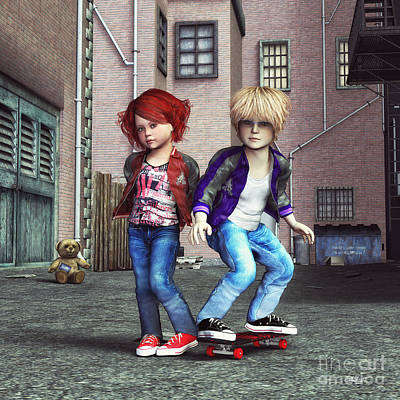 Digital Art - Cool Kids by Jutta Maria Pusl