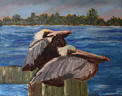 Painting - Cool Pelicans by Libby  Cagle
