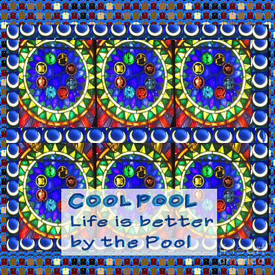 Painting - Cool Pool Life Is Better By The Pool Sparkle Deep Sea Blue Pools And Wisdom Quote Text Saying By Nav by Navin Joshi