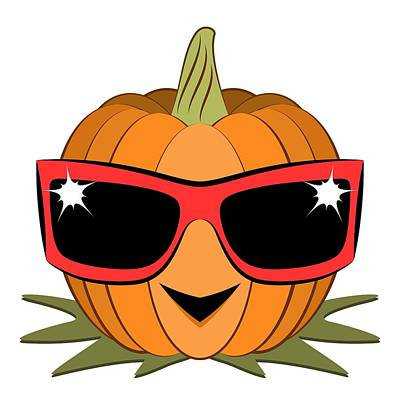 Digital Art - Cool Pumpkin Wearing Retro Nineties Sunglasses by MM Anderson