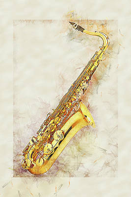 Digital Art - Cool Saxophone by Anthony Murphy