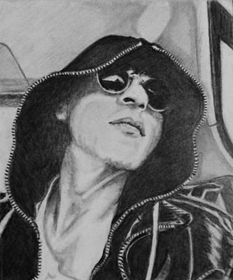 Hoodies Drawing - Cool Shah Rukh Khan In Hoodie And Shades by Linda Prediger