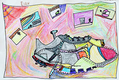 Tennis Shoe Drawing - Cool Shoes by Ella Blank