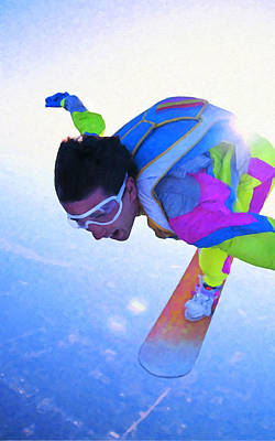 Snowboarder Painting - Cool Snowboarder Against Blue Sky by Lanjee Chee