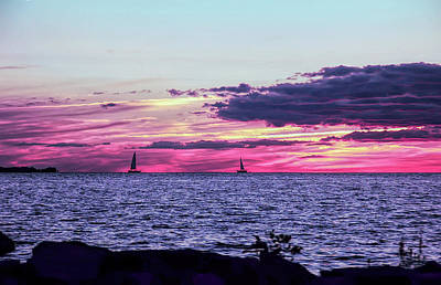 Photograph - Cool Sunset Distant Sailboats by Aimee L Maher Photography and Art Visit ALMGallerydotcom
