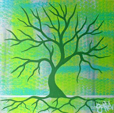 Painting - Cool Tree Green by JoNeL Art