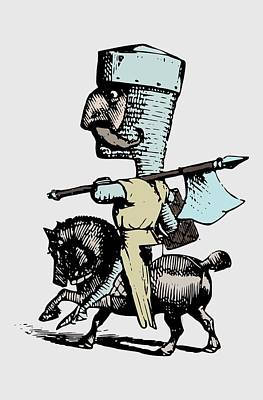 Animal Drawing - Cool Vintage Caricature Drawing - Funny Knight On A Horse by Wall Art Prints