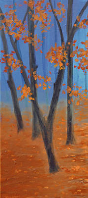 Tranquil Painting - Cool Warmth Of Autumn Triptych 1 Of 3 by Ken Figurski