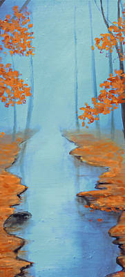 Central Park Painting - Cool Warmth Of Autumn Triptych 2 Of 3 by Ken Figurski