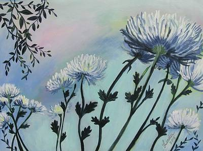 Painting - Cool White Spider Mums by J Linder