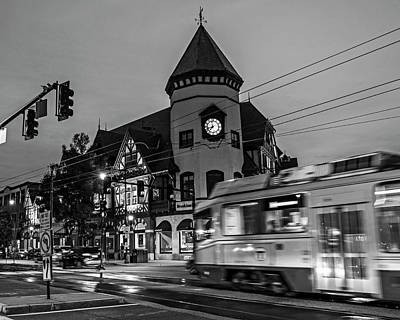 Photograph - Coolidge Corner Brookline Ma Clock Train Incoming Black And White by Toby McGuire