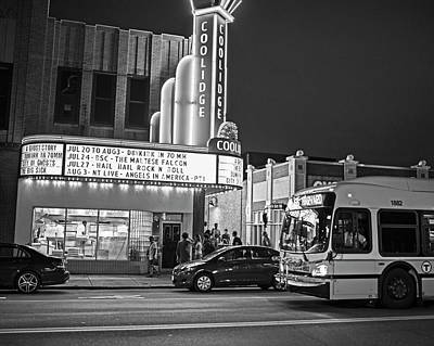 Photograph - Coolidge Corner Theatre Harvard St Brookline Ma Black And White by Toby McGuire