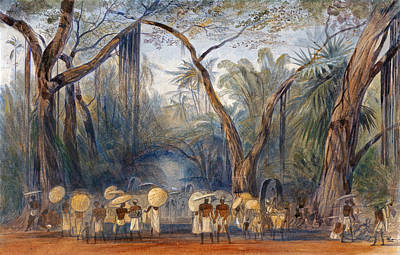 Coolies On The Road Near Kalicut. Malabar Art Print by Edward Lear