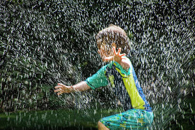 Cooling Off On A Hot Summer Day With The Lawn Water Sprinkler Art Print by Randall Nyhof