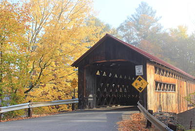 Photograph - Coombs Covered Bridge Winchester Autumn Fog by John Burk