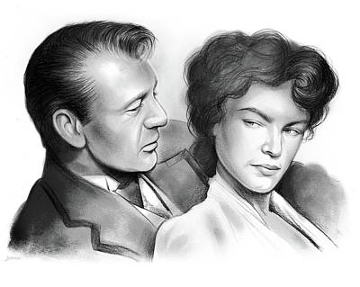 Gary Drawing - Cooper And Bacall by Greg Joens