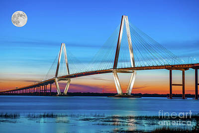Photograph - Cooper River Brdge Full Moon by Dale Powell