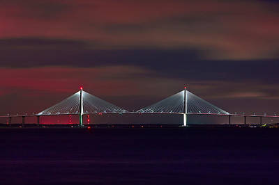 Photograph - Cooper River Bridge At Night by Ken Barrett