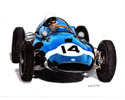 Stirling Moss Drawing - Cooper T51 Stirling Moss 1959 by Ugo Capeto