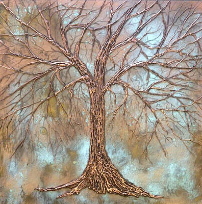 Mixed Media - Cooper Tree by T Fry-Green