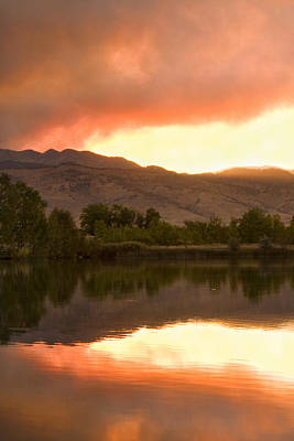 Photograph - Coot Lake Wild Fire Sunset by James BO  Insogna
