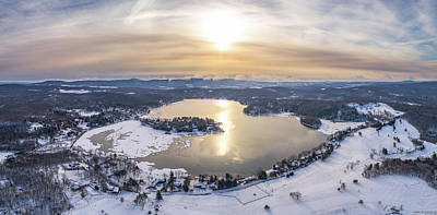 Photograph - Copake Lake, Craryville Ny - Winter Aerial Panorama by Petr Hejl