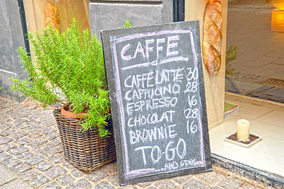 Photograph - Copenhagen Coffee Shop Sign by Catherine Sherman