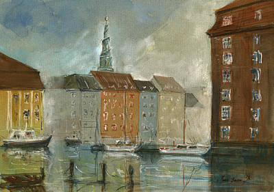 Church Painting - Copenhagen by Juan Bosco