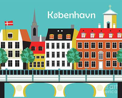 Canals Digital Art - Copenhagen Kobenhavn Denmark Horizontal Scene by Karen Young