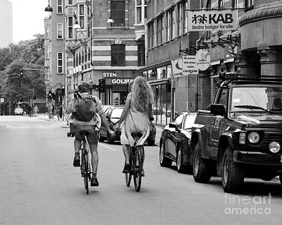 Copenhagen Lovers On Bicycles Bw Art Print by Catherine Sherman