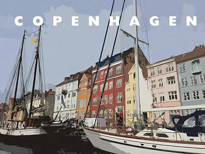 Colorful Boats Wall Art - Digital Art - Copenhagen Memories by Linda Woods