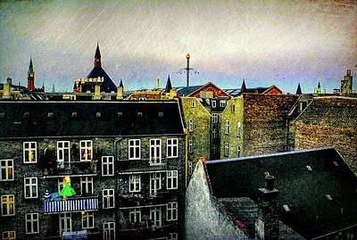 Copenhagen Denmark Digital Art - Copenhagen Room With A View by John Hesley