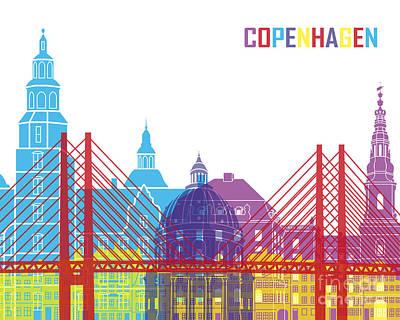 Copenhagen Denmark Digital Art - Copenhagen Skyline Pop by Pablo Romero