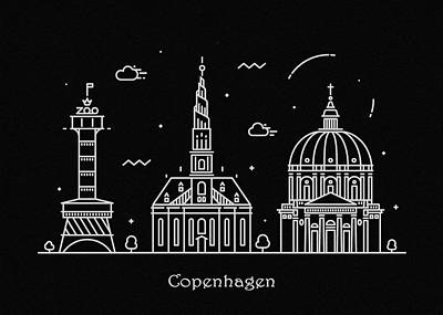 Abstract Landscape Drawing - Copenhagen Skyline Travel Poster by Inspirowl Design