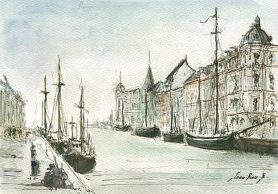 Copenhagen With Snow Print by Juan Bosco