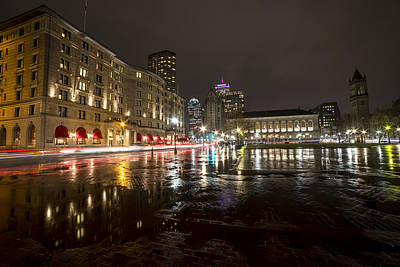 Photograph - Copley Fairmont Boston Public Library Rainy Nights by Toby McGuire