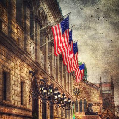 Us Flag Photograph - Copley Square - Boston Architecture by Joann Vitali