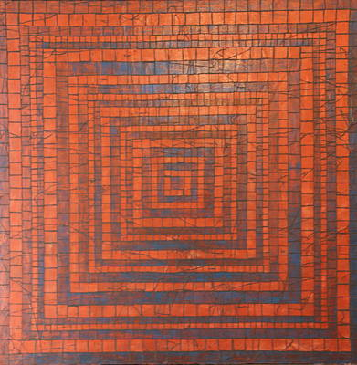 Copper And Cerulean Crack Art Print by Tracy Fetter