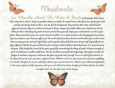 Copper Butterfly Desiderata Print by Desiderata Gallery