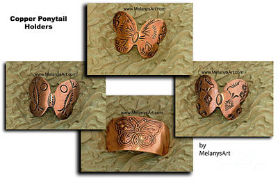 Jewelry - Copper Butterfly Ponytail Holders by Melany Sarafis