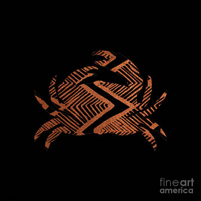 Tiki Painting - Copper Crab, Copper On Black Tiki Crab by Tina Lavoie