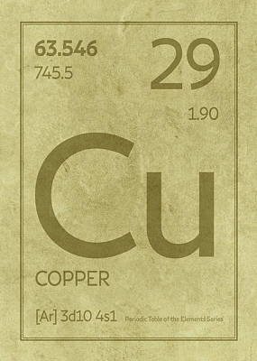 Periodic Table Wall Art - Mixed Media - Copper Element Symbol Periodic Table Series 029 by Design Turnpike