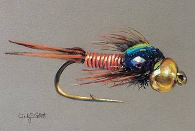 Copper Beads Painting - Copper John - Dive Bomber by Cindy Gillett