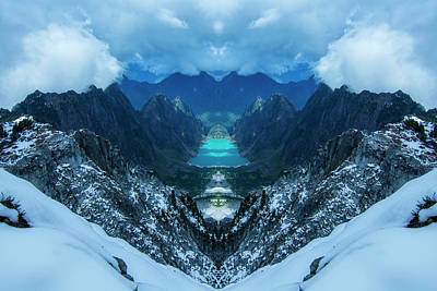Surrealism Digital Art Rights Managed Images - Copper Lake Reflection Royalty-Free Image by Pelo Blanco Photo